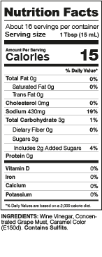 Balsamic Vinegar Nutrition Facts