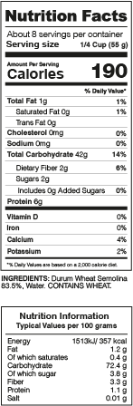 Trottole Pasta Nutrition Facts