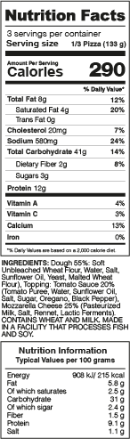 Classic Pizza Nutrition Facts
